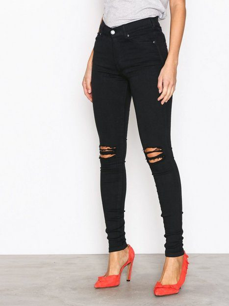Dr Denim Lexy Black Ripped Knees Slim