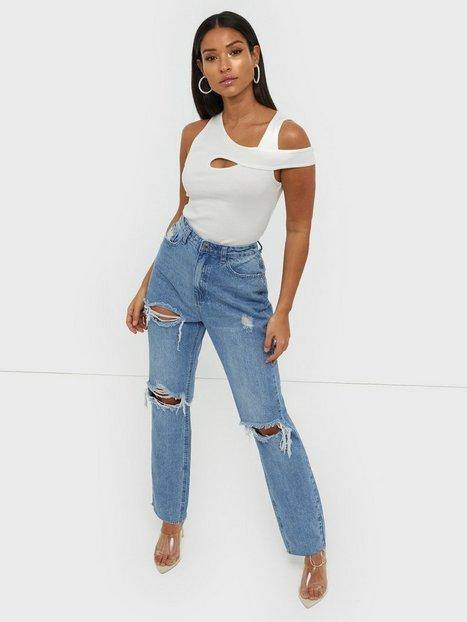 Missguided Highwaisted Rip Straight Jeans Straight